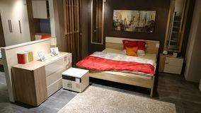Domowy projekt: meblująca sypialnia Zdjęcia Stock