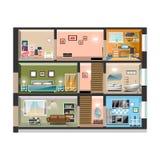 Domowy przekrój poprzeczny z izbowymi wnętrzami royalty ilustracja