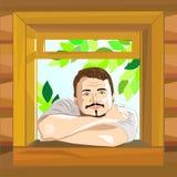 domowy spojrzeń mężczyzna wektoru okno ilustracja wektor