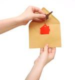 Domowy symbol i klucz Obraz Stock
