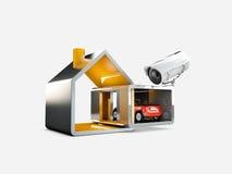 Domowy system bezpieczeństwa, 3d ilustracja, odosobniony biel Zdjęcia Stock