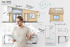 Domowy układu Floorplan projekta nakreślenia pojęcie obraz royalty free