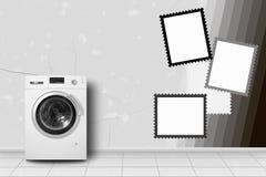 Domowy urządzenie - pralka w domowej wnętrze ram ścianie Fotografia Royalty Free