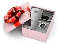 Domowy urządzenie w prezenta pudełku z faborkami i łękiem. ilustracji