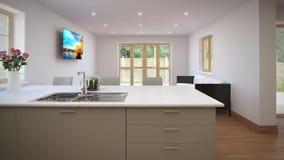 Domowy wewnętrzny spacer od żywego pokoju w kuchnię zbiory wideo