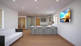 Domowy wewnętrzny spacer od żywego pokoju w kuchnię