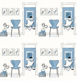 Domowy wnętrze, korytarz Projektuje ikony, motyliego krzesła bezszwowy wzór, błękitny Zdjęcia Royalty Free