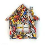Domowy znak od narzędzi pojęcie budowa dotyka złota domów klucze Domowy odświeżanie lub ilustracja wektor