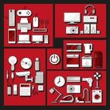 Domowych elektronika urządzeń płaskie ikony ustawiać Fotografia Royalty Free