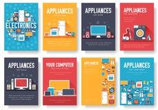 Domowych urządzeń karty ustawiać Elektronika szablon flyear, magazyny, plakaty, książkowa pokrywa, sztandary Przyrząda infographi Obraz Stock
