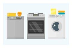 Domowych urządzeń kuchennego wyposażenia technologii gospodarstwa domowego domowa elektryczna narzędziowa pralnia i cleaning grup ilustracja wektor