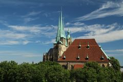 Domplatz in Erfurt, Thuringia, Germany. Catholic cathedral at the Domplatz in Erfurt city, historical center stock photos