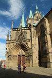 Domplatz in Erfurt, Thuringia, Germany. Catholic cathedral at the Domplatz in Erfurt city, historical center stock image