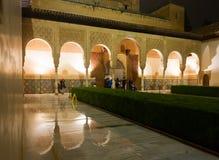 Domstol av myrten (Uteplats de los Arrayanes), Alhambra granada Fotografering för Bildbyråer