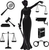 domstol Uppsättning av symboler på ett tema det juridiskt lag Themis Royaltyfria Bilder