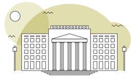 Domstolsbyggnad- eller institutionavdelning Royaltyfria Bilder