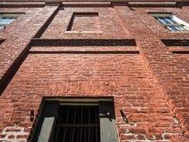 Domstolsbyggnadvägg, från den ståndsmässiga arrestgården, San Andreas, Kalifornien Arkivfoto