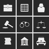 Domstolsymboler royaltyfri illustrationer