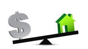 Domu i pieniądze równowaga Fotografia Stock