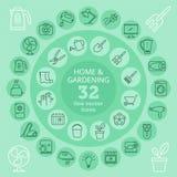 Domu & ogrodnictwa ikony ilustracja wektor