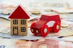 Domu, samochodu i banknotów pojęcie, fotografia royalty free