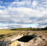 Domus de janas in sardinia. Ancient prehistoric tomb excavated in the rock, typically called domus de Janas Royalty Free Stock Image
