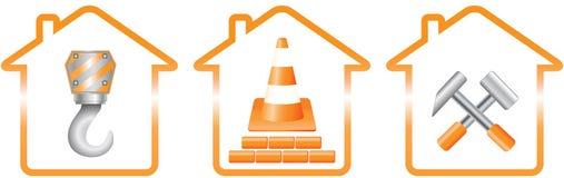 Domy i budowa znaki silhouette Obraz Royalty Free