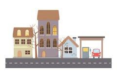 Domy i budynki w miasto projekcie ilustracja wektor