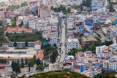 domy i ulicy w Chefchaouen Obrazy Royalty Free
