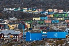 Domy Ilulissat, Greenland Zdjęcie Royalty Free