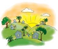 Domy na wzgórzach Ilustracji