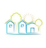 Domy słońce i drzewa Obrazy Royalty Free