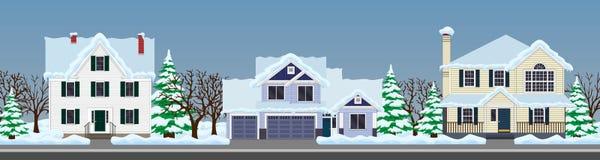 domy ustawiający Zimy ulica royalty ilustracja