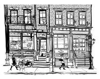 Domy w greenwichu village Miasto Nowy Jork ilustracja wektor