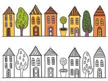 Domy w miasteczko wzorze Obraz Stock