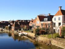Domy w wioski winsum Holandie Zdjęcie Royalty Free