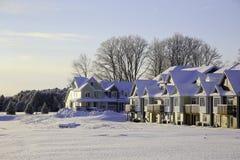 Domy w zimie zdjęcie royalty free