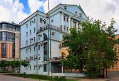 Domy z mnóstwo lotniczymi conditioners na fasadach moscow Rosji obraz royalty free
