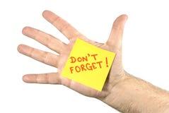 Don't忘记在的笔记手掌 免版税库存图片