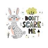 Don't asustadizo yo impresión con un conejo lindo ilustración del vector