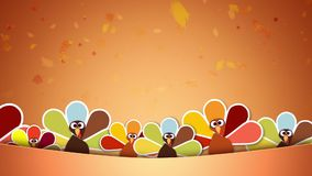 Don't be a Turkey Give Thanks. This video features animated turkeys along the bottom of the screen with leaves falling in the background and an animated stock footage