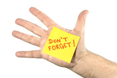 Don't Forget Note In Palm of Hand Royalty Free Stock Images