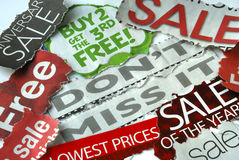 Don�t miss the on sale and free deals Stock Photos