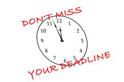 Don't miss your deadline. Sign on a white background with a clock vector illustration