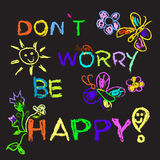 Don't worry be happy slogan colorful Royalty Free Stock Photos