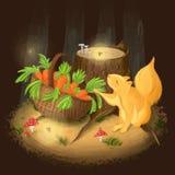Don del cielo en un bosque oscuro ilustración del vector
