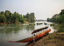 Don-det bei Sonnenuntergang, Si Phan Don, Champasak-Provinz, Laos lizenzfreie stockfotos
