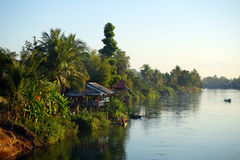 Don Det island. And Mekong river in Siphandon, Laos royalty free stock photography