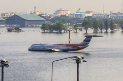 Don Muang Airport in Bangkok was underwater. Royalty Free Stock Photography