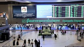 Don Mueang Airport. Thailand, Bangkok, 28 Oct 2016, Interior concourse Don Mueang. The airport terminal in Bangkok stock video footage
